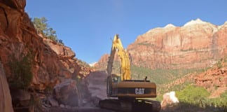 Zion National Park rockfall road closed