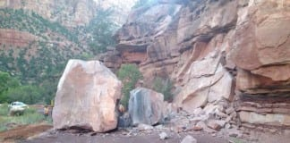 Zion National Park rockfall