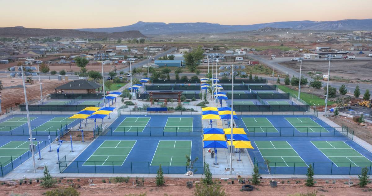 Fields at little valley pickleball complex adds 12 courts for Sport court utah