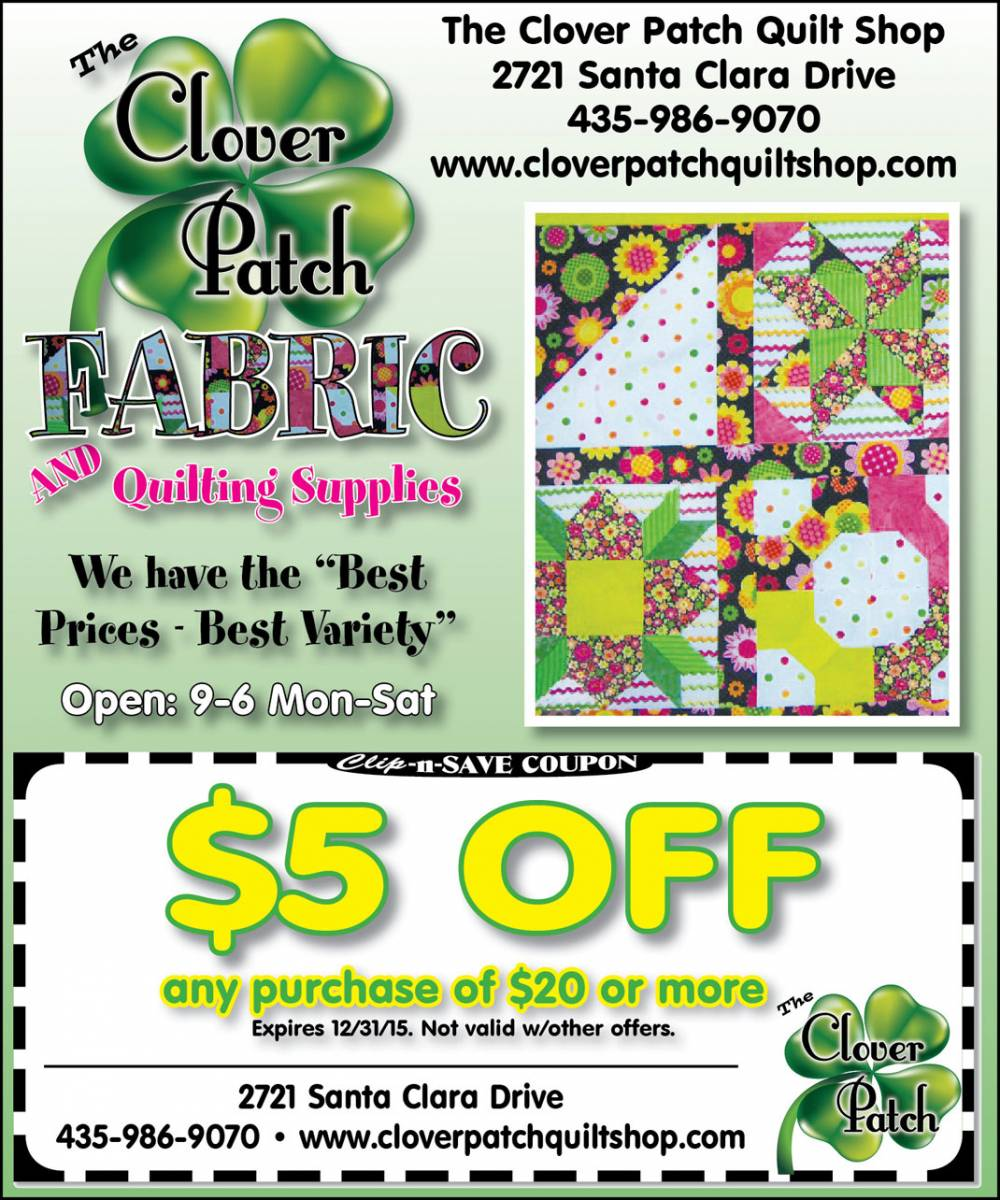 quilting supplies coupon st george 5 off at clover patch in december. Black Bedroom Furniture Sets. Home Design Ideas