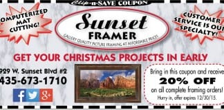 art framing coupon St. George