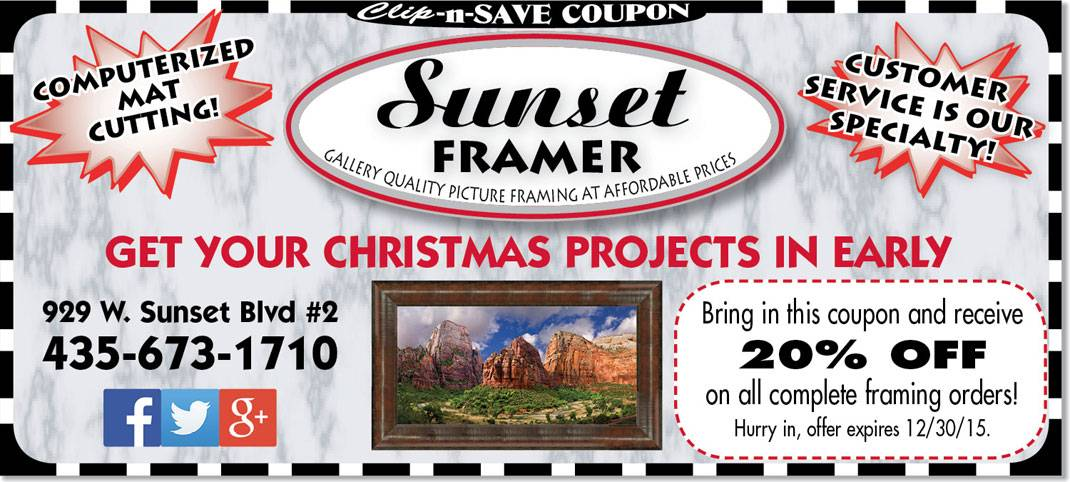 Art framing coupon St. George: 20% off at Sunset Framer in Dec.