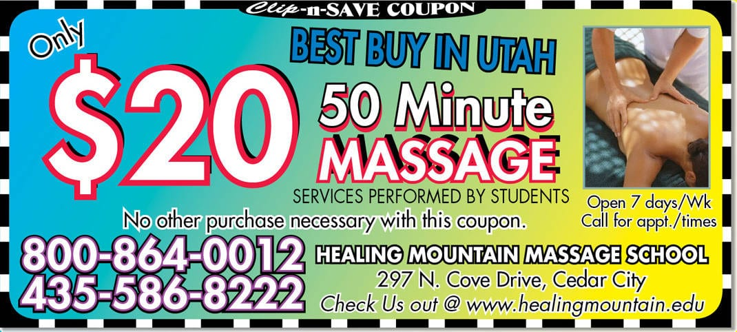 Massage coupon cedar city 20 massage at healing mountain for Mountain house coupon
