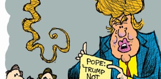 cartoon Claytoonz Clay Jones Pope vs. Trump