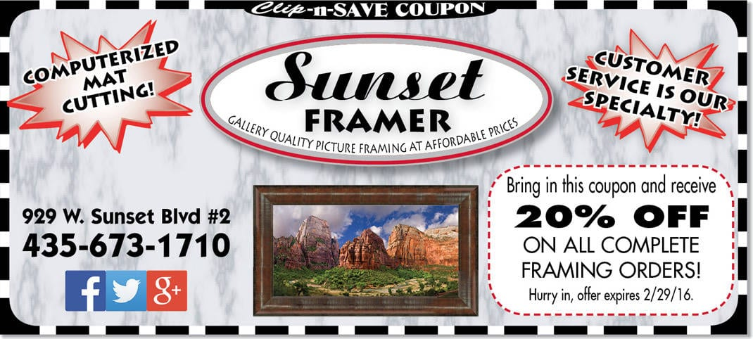 Art framing coupon St. George: 20% off at Sunset Framer