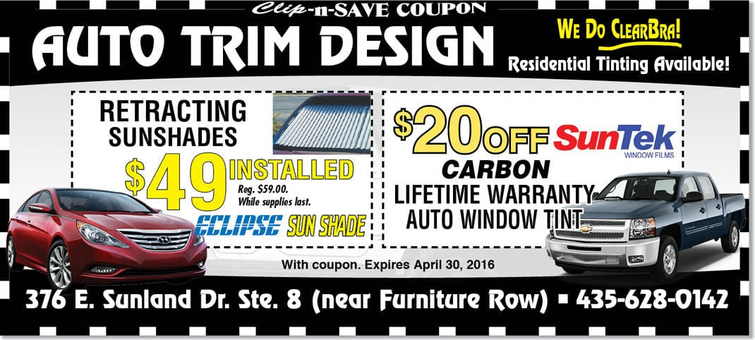 Vehicle tinting st george auto trim design specials in april for Zion motors st george