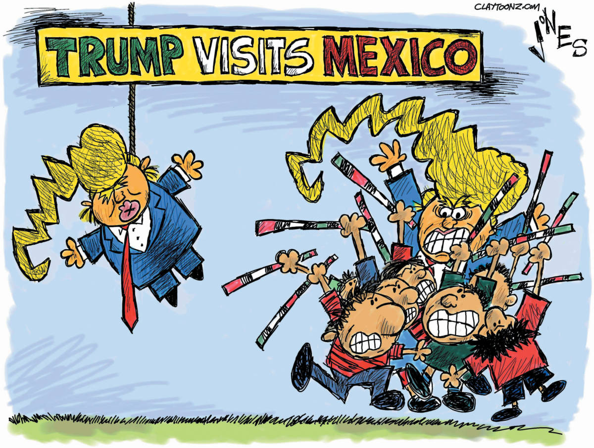 "Jones on his political cartoon ""Hola, Senor Trump,"" Donald Trump ..."