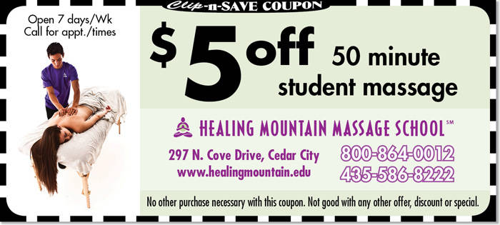 Massage Cedar City coupon | $5 off massage at Healing Mountain Massage School