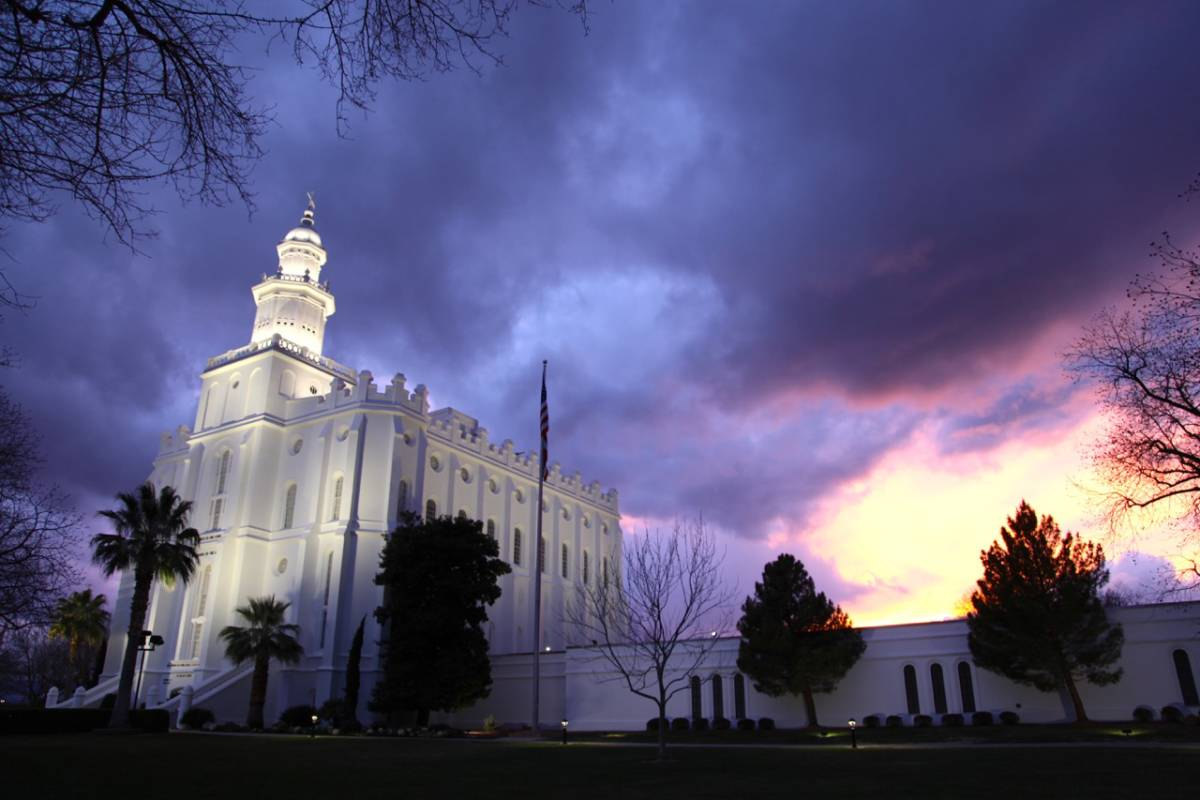 St. George LDS Temple at Sunset on 2-27-17