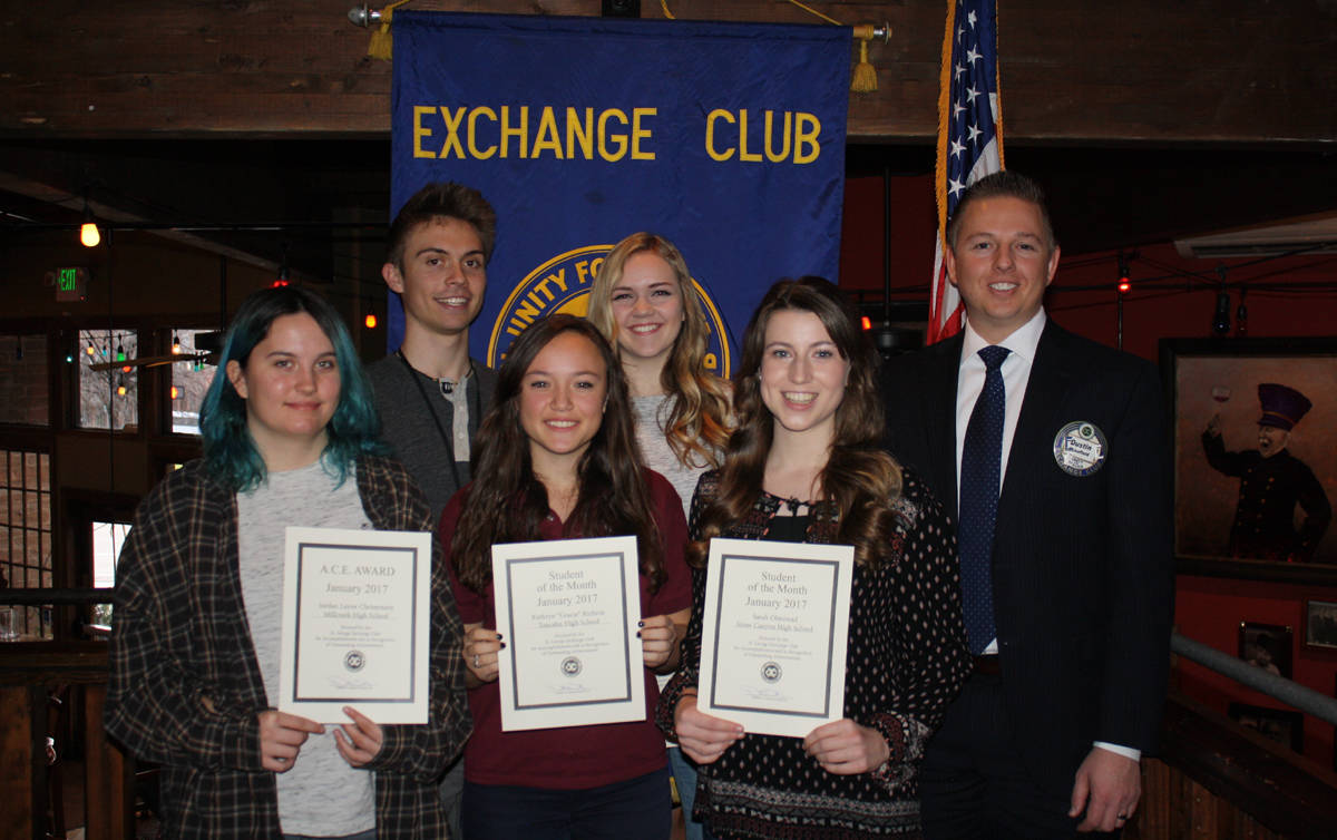 St. George Exchange Club announces January 2017 Student of the Month recipients