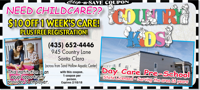 Preschool St. George   $10 off at Country Kids in January