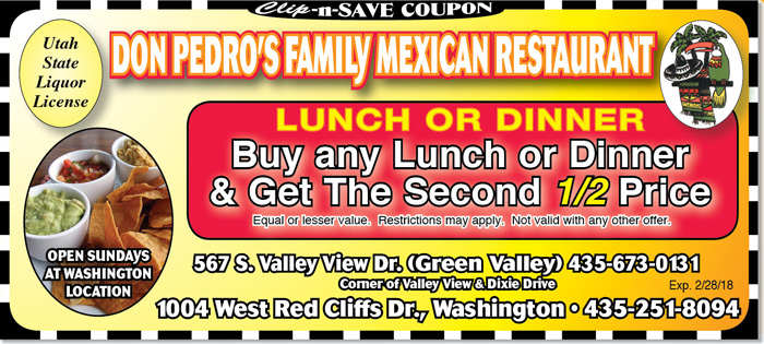 St. George Mexican Restaurant | 1/2 off coupon at Don Pedro's in January